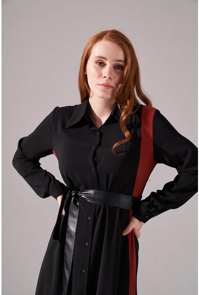 Mizalle Şerit Detaylı Gömlek Elbise (Kiremit)