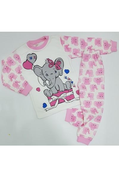 Süper Mini %100 Pamuk Sevimli Fil Desenli Kız Pijama Takımı Pembe Renk