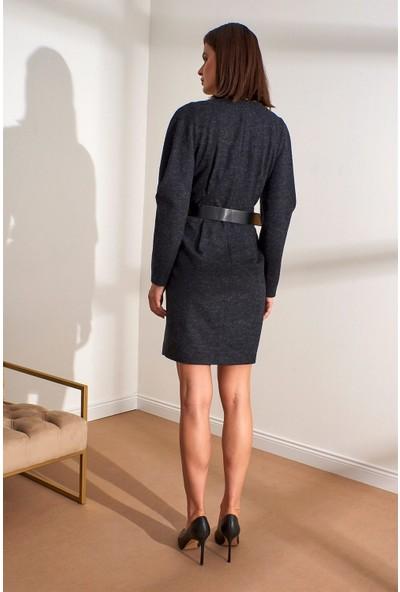 Setre Antrasit Kemerli V Yaka Uzun Kol Elbise