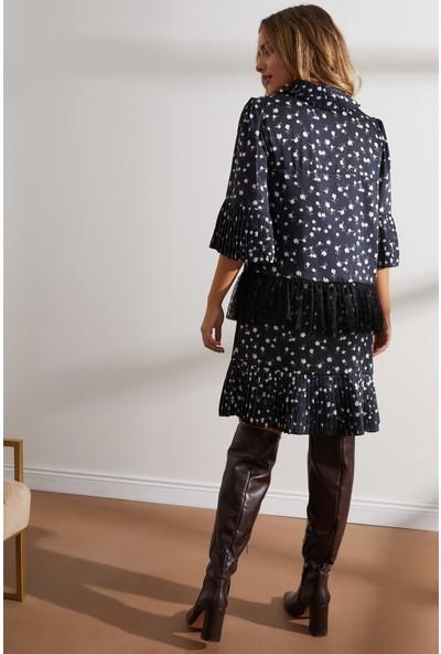 Setre Siyah Puantiyeli ve Piliseli Elbise