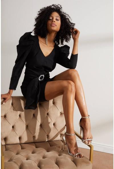 Setre Siyah V Yaka Truvakar Kol Mini Elbise