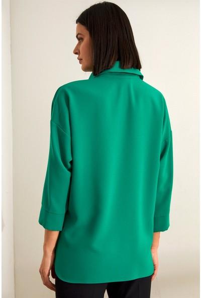 Setre Yeşil İnci Detaylı V Yaka Truvakar Kol Tunik
