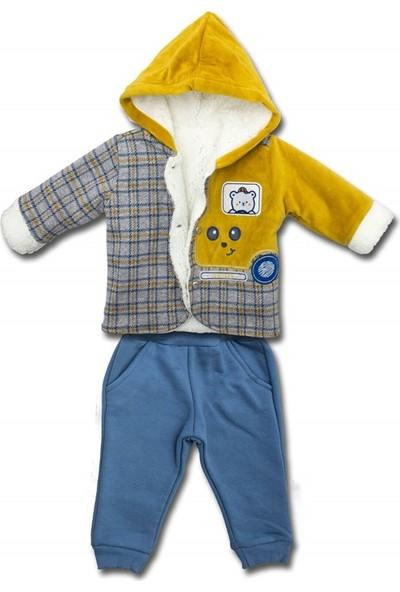 Mombi Sarı Kapşonlu Kürk Montlu Kışlık 2 Li Bebek Takımı K3405