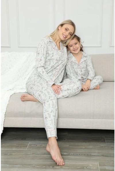 Siyah İnci Pamuklu Likrali Biyeli Düğmeli Pijama Takım 20258040
