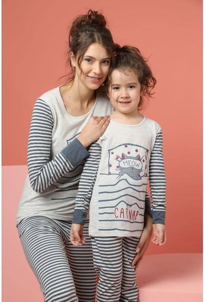 Siyah İnci Kadın Pamuklu Likrali Pijama Takım 20263019