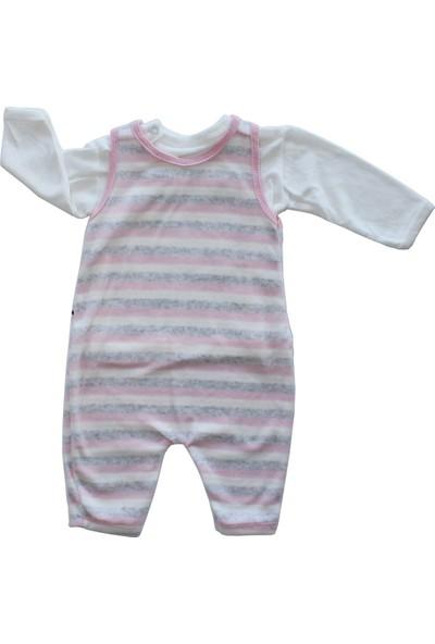 Bebek Odam Bebekodam Köpek Desenli Kadife Bebek Tulum - Pembe Gri