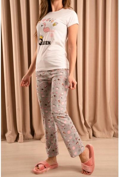 Hadise Queen Flamingo Baskılı Baskılı Pijama Takımı Beyaz