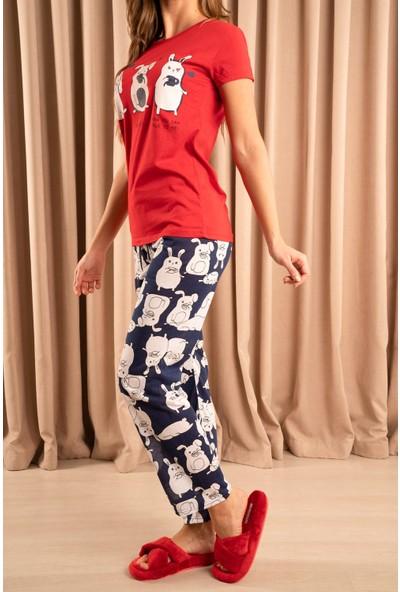 Hadise Shhh Baskılı Pijama Takım Kırmızı/laci