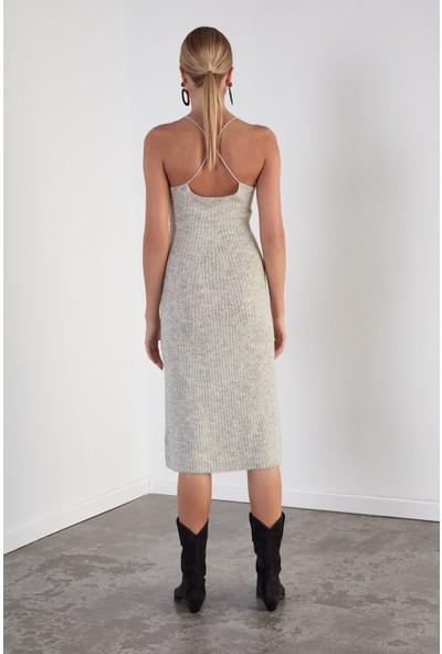 Join Us Çapraz Askılı Triko Elbise