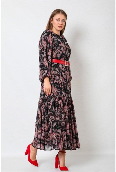 Repp Şal Desenli Kemer Detaylı Uzun Elbise-Siyah-Kırmızı