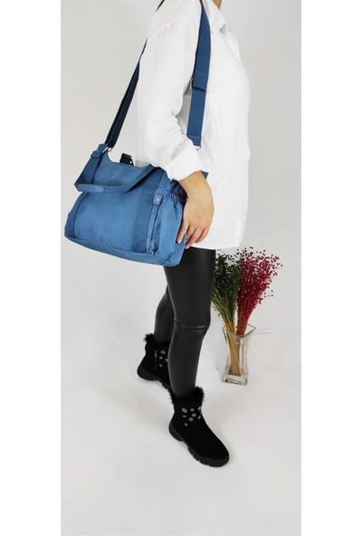 Smart Bags 1163 Buz Mavi Krinkıl Omuz Çantası