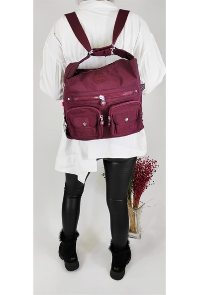 Smart Bags 1118 Bordo Krinkıl Sırt Çantası