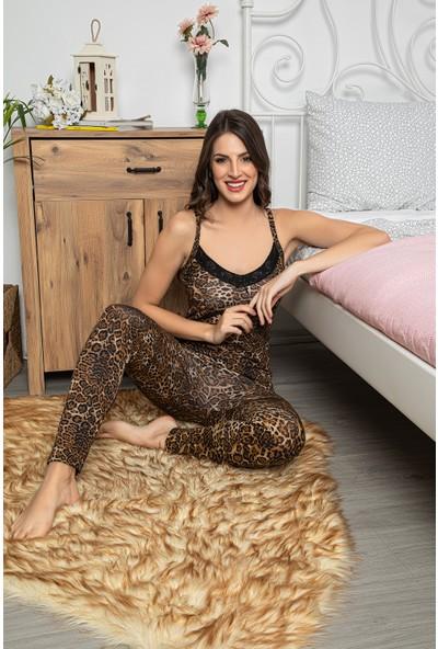 Myben Kadın Leopar Desenli Dantel Detaylı Şortlu ve Taytlı Pijama Takımı 3'lü Set 75000