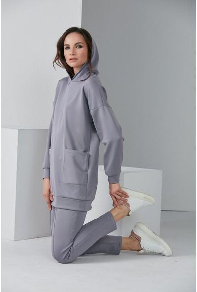 Modaness Kadın Cepli Kapüşonlu Eşofman Takım 1007
