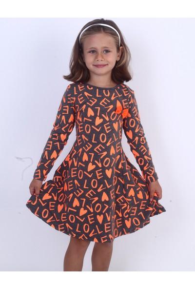 Toontoy Kız Çocuk Love Baskılı Elbise