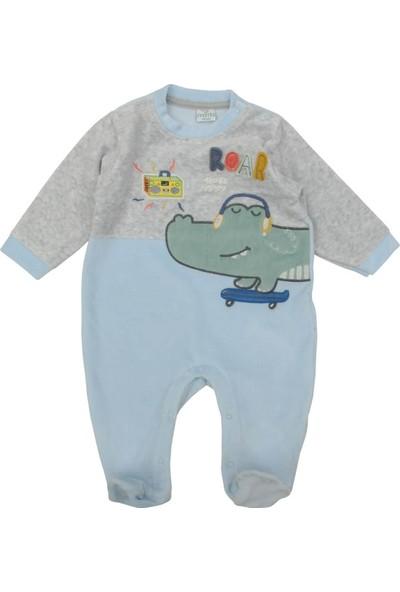 Mombi Timsahlı Erkek Bebek Kadife Tulum