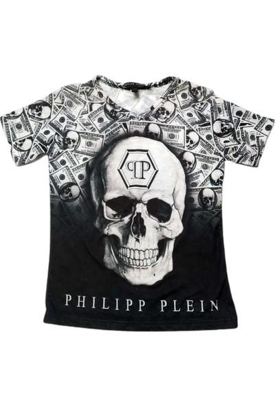 Philipp Plein Erkek Çocuk Dijital Kuru Kafa Baskılı V Yakalı Kısa Kollu T-Shirt