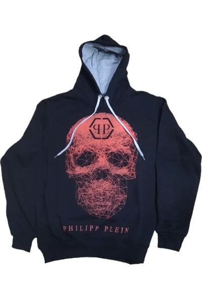 Philipp Plein Erkek Kapüşonlu Bağcıklı Kabartma Kuru Kafa Baskılı Bomber Sweatshirt