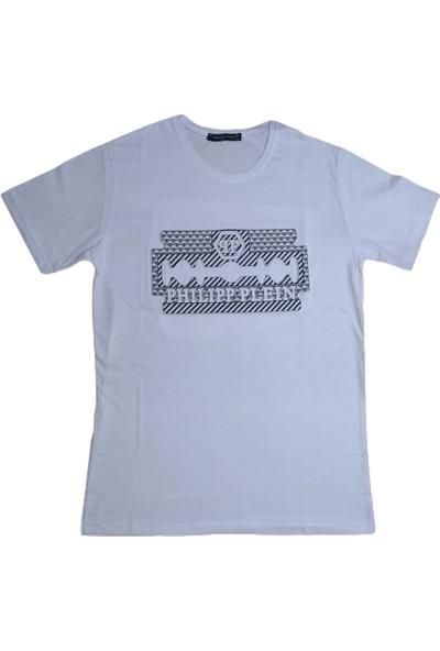 Philipp Plein Erkek Beyaz Sıfır Yakalı Kabartma Baskılı Kısa Kollu Penye T-Shirt