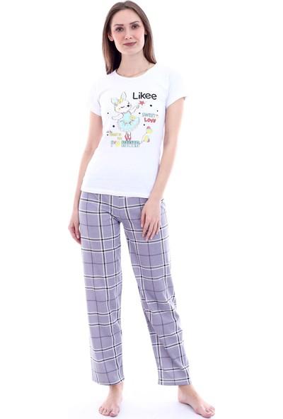 Moda Hitap Kadın Beyaz Tavşan Baskılı Gri Kareli Pijama Takım