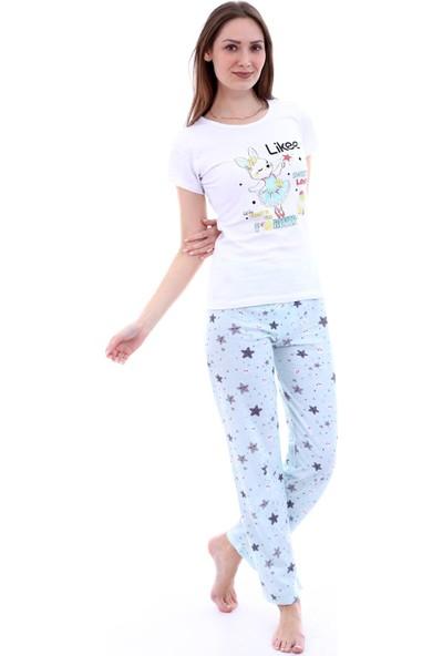 Moda Hitap Kadın Beyaz Tavşan Baskılı Açık Mavi Yıldız Desen Pijama Takımı