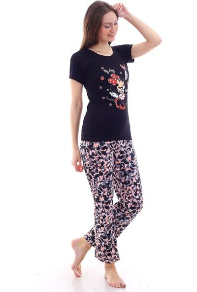 Moda Hitap Kadın Siyah Micky Mouse Baskılı Batik Desen Pijama Takımı