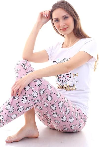 Moda Hitap Kadın Beyaz Kedi Baskılı Pembe Kedi Desen Pijama Takımı