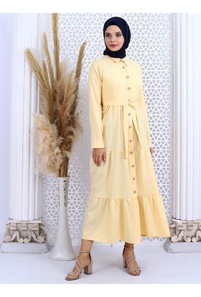 Por La Cara Boydan Düğmeli Elbise Sarı