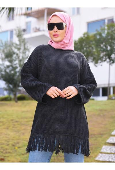 Por La Cara Püsküllü Uzun Triko Tunik Siyah