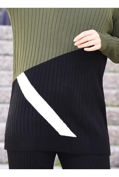 Por La Cara Tunik Pantolon İkili Triko Takım Haki