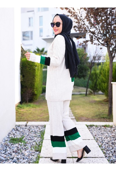 Por La Cara Tunik Pantolon İkili Triko Takım Taş