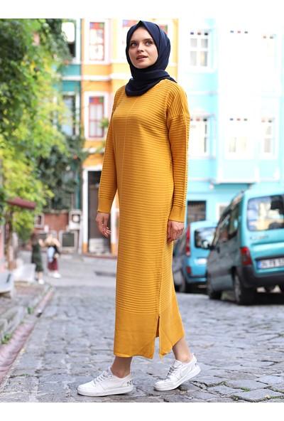 Por La Cara Yırtmaçlı Uzun Triko Elbise Hardal