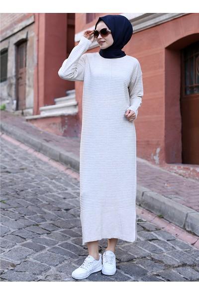 Por La Cara Yırtmaçlı Uzun Triko Elbise Taş