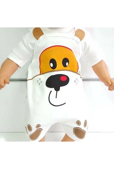 Bebek Odam Köpek Baskılı Beyaz Badılı Bahçıvan Yazlık Bebek Tulum