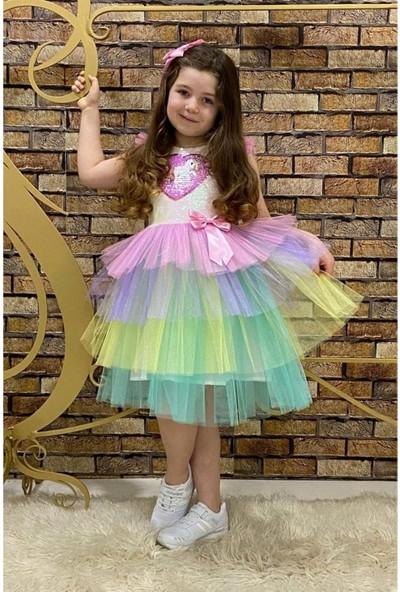 Pumpido Kız Çocuk Poni Atlı Pullu Tütü Elbise