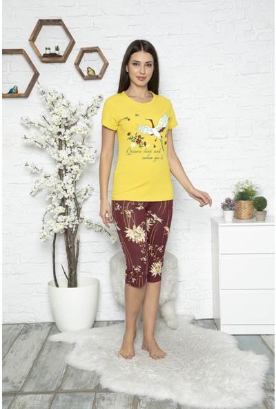Myben Kadın Sarı Renkli Baskılı Kısa Kollu Kapri Pijama Takımı 20047
