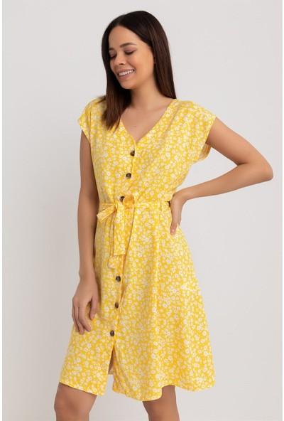 New Laviva Kısa Kollu Çıtır Çiçek Desenli Sarı Kadın Elbise
