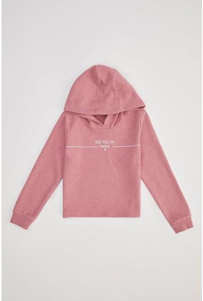 Defacto Kız Çocuk Baskılı Sweatshirt