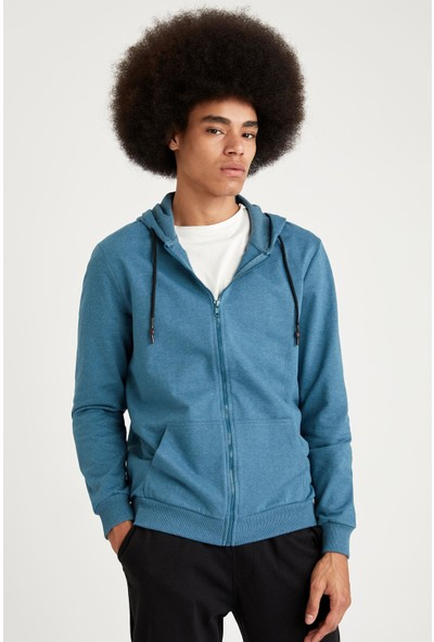 Defacto Kapüşonlu Slim Fit Fermuarlı Basic Sweatshirt