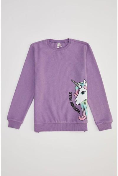 Defacto Kız Çocuk Unicorn Baskılı Selanik Kumaş Sweatshirt