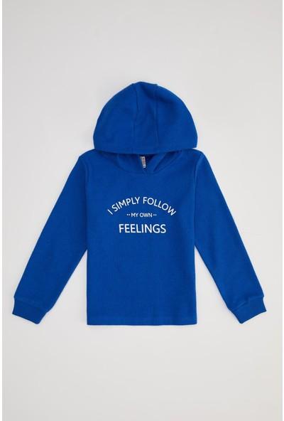 Defacto Kız Çocuk Yazı Baskılı Kapüşonlu Selanik Kumaş Sweatshirt