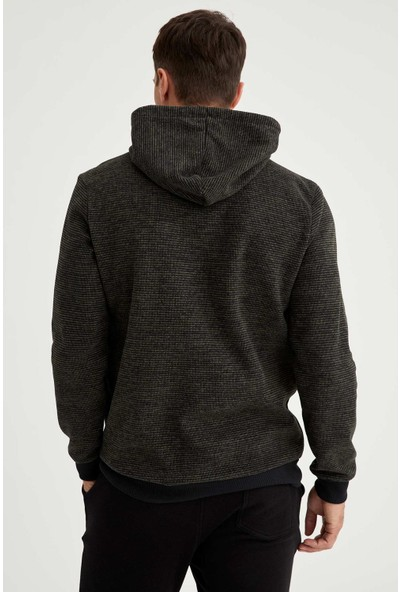 Defacto Mind Baskılı Regular Fit Kapüşonlu Sweatshirt