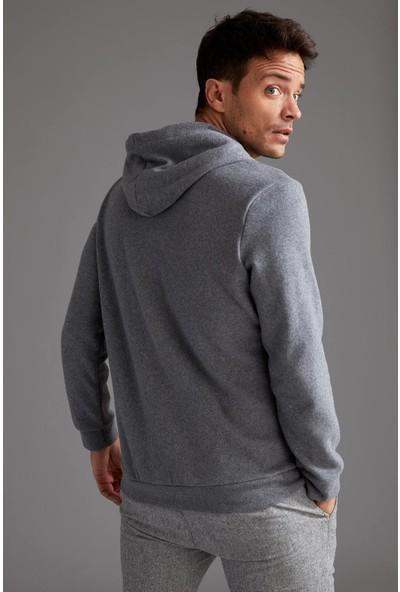 Defacto Baskılı Regular Fit Kapüşonlu Sweatshirt