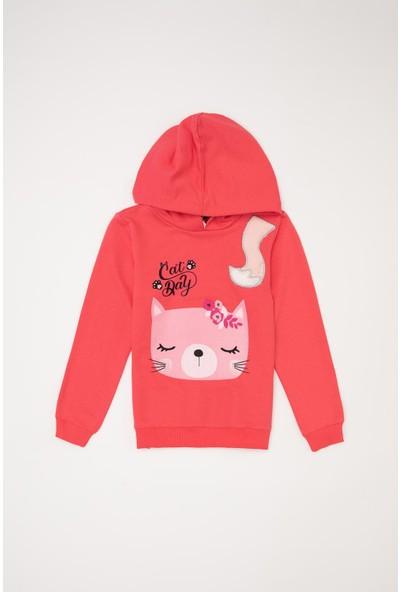 Defacto Kız Çocuk Baskılı Kapüşonlu Sweatshirt
