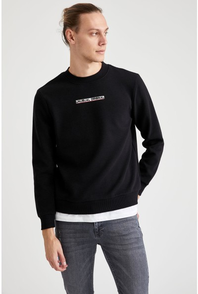Defacto Baskılı Bisiklet Yaka Regular Fit Sweatshirt
