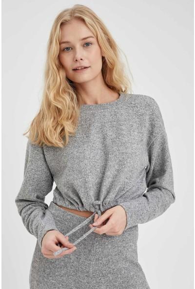 Defacto Düşük Omuz Crop Sweatshirt
