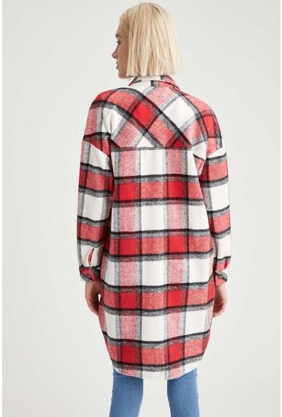 Defacto Kare Desenli Cepli Uzun Kol Gömlek Tunik