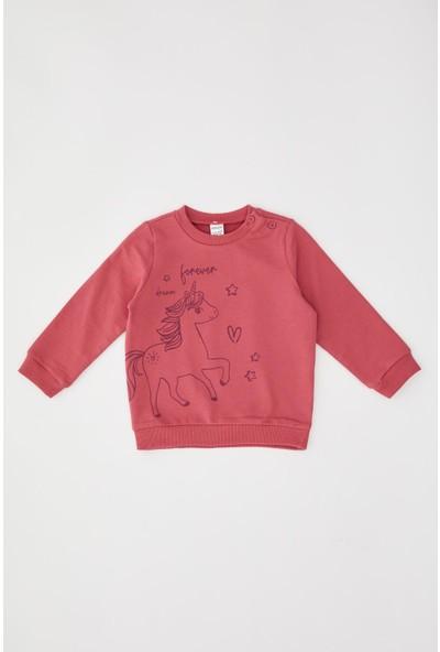 Defacto Kız Bebek Unicorn Baskılı Sweatshirt