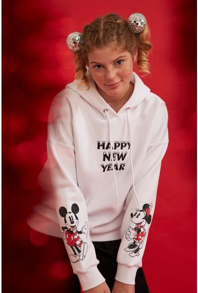 Defacto Mickey Mouse Baskılı Kapüşonlu Lisanslı Sweatshirt