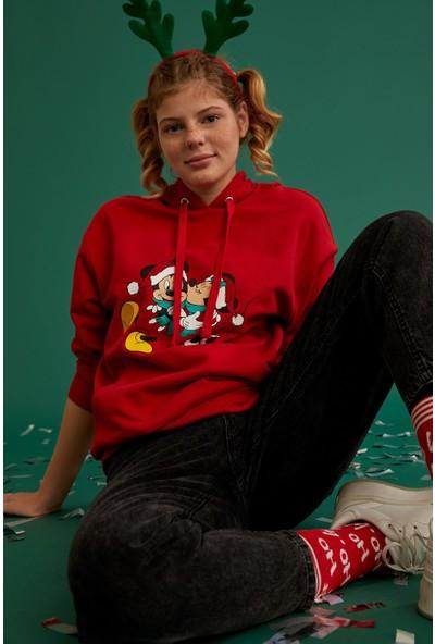 Defacto Mickey Mouse Lisanslı Relax Fit Sweatshirt